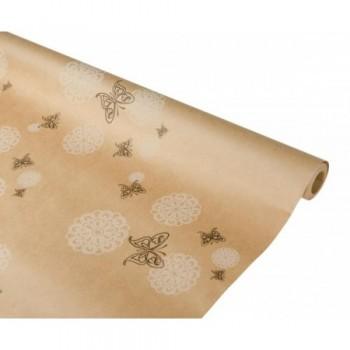 Бумага упаковочная Бабочки/кружево крафт бурый 0,7х2,5м, 70г/м2 (1 шт.)