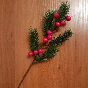 Ветка еловая с ягодами искусственными, 35 см (1 шт.)