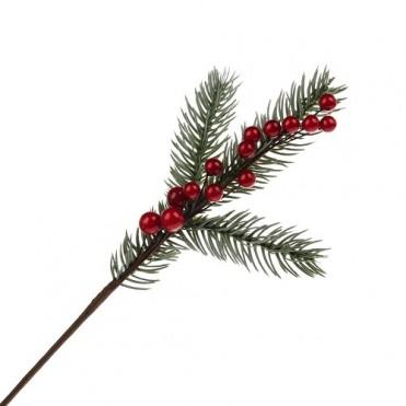 Ветка еловая снежная с ягодами искусственными, 28 см (1 шт.)