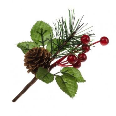 Ветка еловая с шишкой и ягодами искусственными, 13 см (1 шт.)