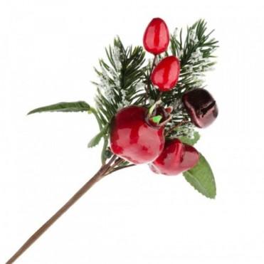 Ветка еловая с ягодами искусственными, 13 см (1 шт.)