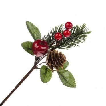 Ветка еловая с шишкой и ягодами искусственными, 15 см (1 шт.)