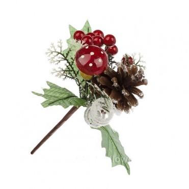 Ветка с грибом, шишкой и ягодами искусственными, 20 см (1 шт.)