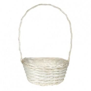 Корзина плетеная из ивы, 36x27xH15/54см (1 шт.) - белая