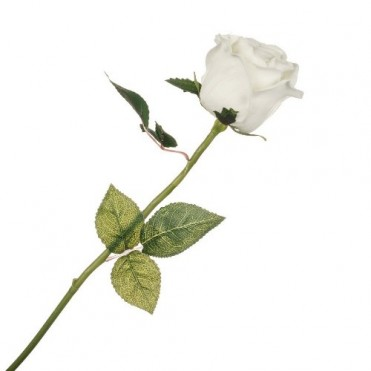 Цветок искусственный с силиконовым покрытием Роза, 58 см (1 шт.) - кремовый