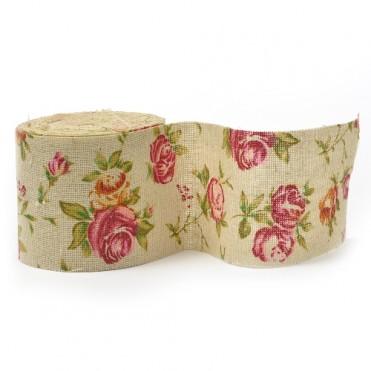 Лента декоративная (мешковина) Розы, 65мм х 2м (1 шт.)