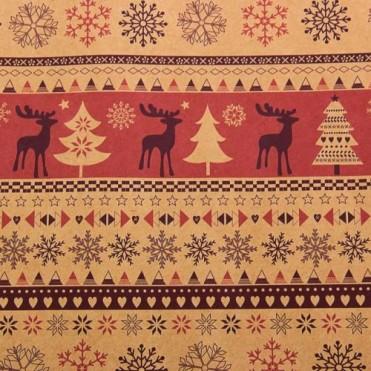 Бумага упаковочная Скандинавские олени крафт бурый, 0,6х2,5м, 70г/м2 (1 шт.) - красная