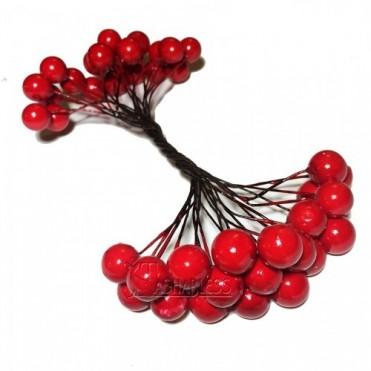Ягоды декоративные, двойной пучок (1 уп.) - красные
