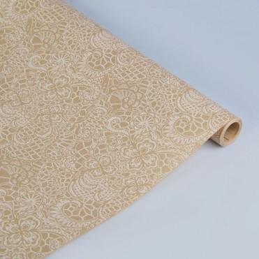 Бумага упаковочная Кружево белое крафт бурый 0,6х2,5м, 40г/м2 (1 шт.)