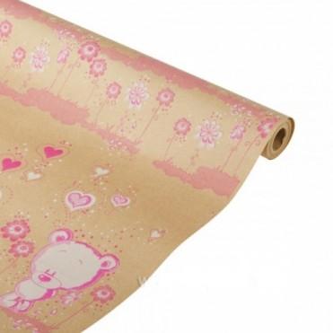 Бумага упаковочная Мишутка розовый крафт бурый 0,7х2,5м, 60г/м2 (1 шт.)