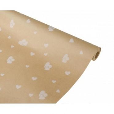 Бумага упаковочная Сердца крафт бурый 0.7х2,5м, 60 г/м2 (1 шт.) - белые